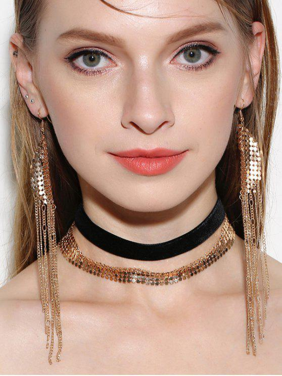 latest Disc Choker Necklaces with Fringed Earrings - GOLDEN