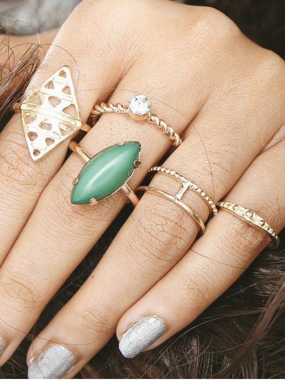 fashion Faux Gem Circle Geometric Finger Ring Set - GOLDEN