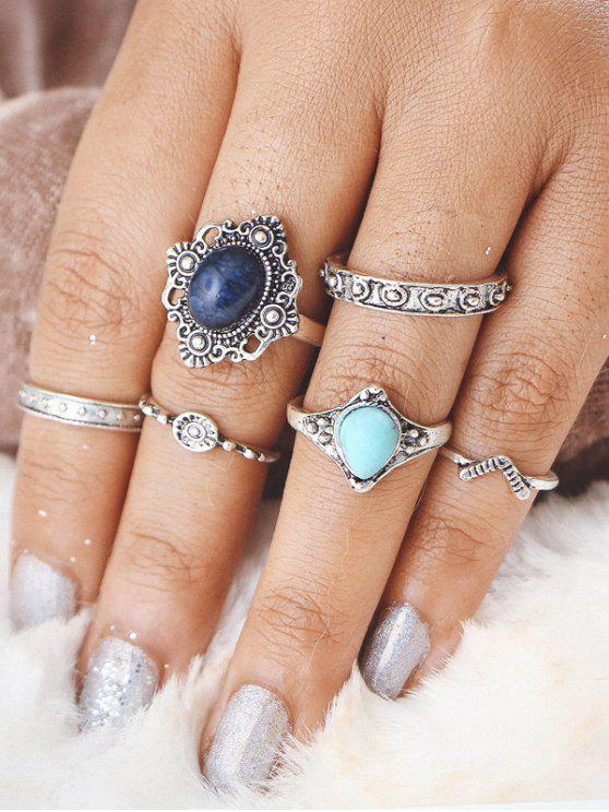 fancy Faux Turquoise Oval Finger Ring Set - SILVER