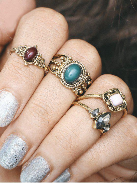 Incastonato Faux Gemstone Oval Finger Ring Set - Oro