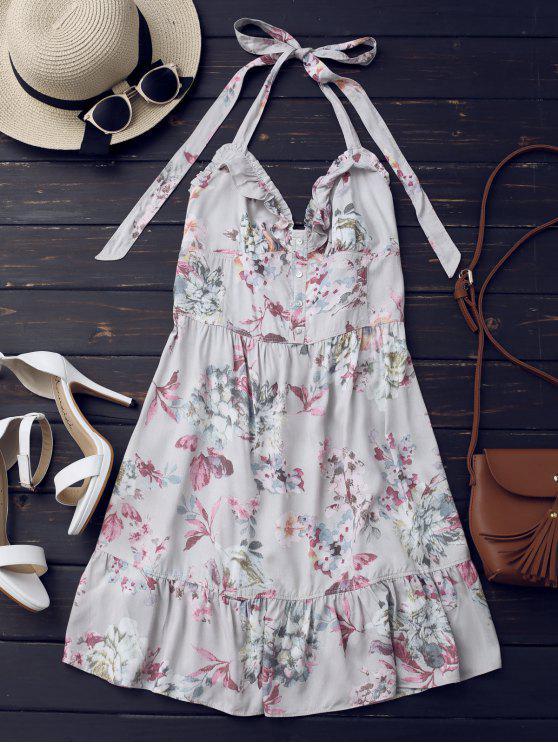 women Half Buttoned Ruffles Floral Mini Dress - FLORAL L