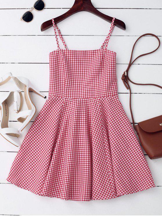 Mini Vestido de Cuadro con Escote Pronunciado en Espalda - Comprobado M