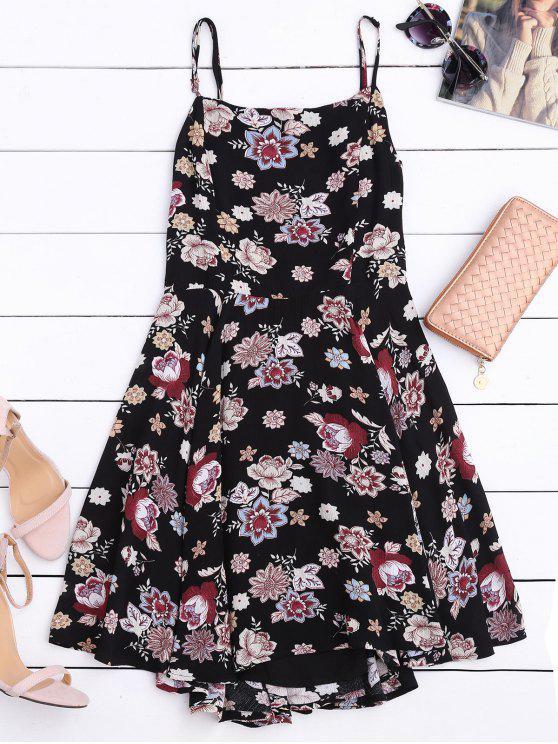 A-Linie Kleid mit Blumenmuster und Cut out am Rücken - Blumen S