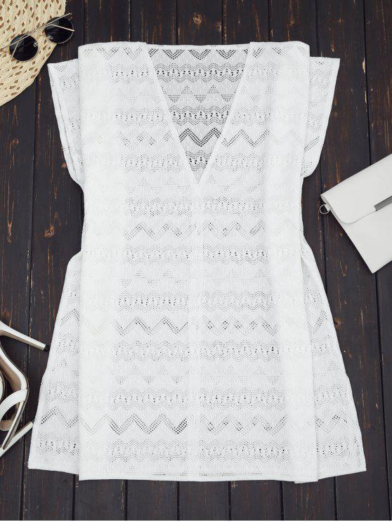 Vestido de túnica de talla grande con ojal de cerradura - Blanco S