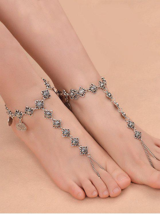 latest 1PC Coins Fringed Charm Vintage Slave Anklet - SILVER