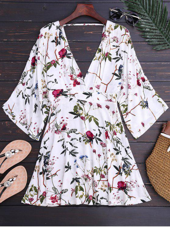 fancy Kimono Sleeve Floral A-Line Dress - FLORAL L