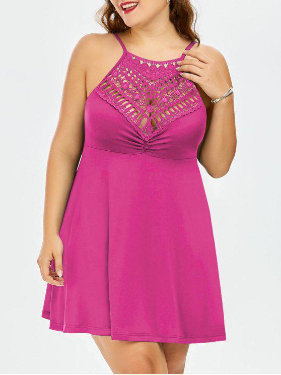 outfits Plus Size Lace Trim Empire Waist Slip Dress - TUTTI FRUTTI 3XL