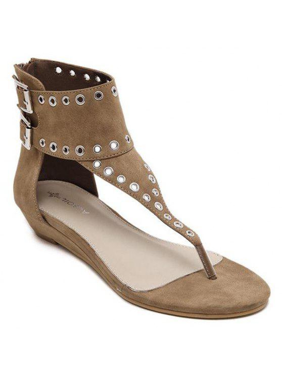 affordable Eyelets Zipper Sandals - DARK KHAKI 40