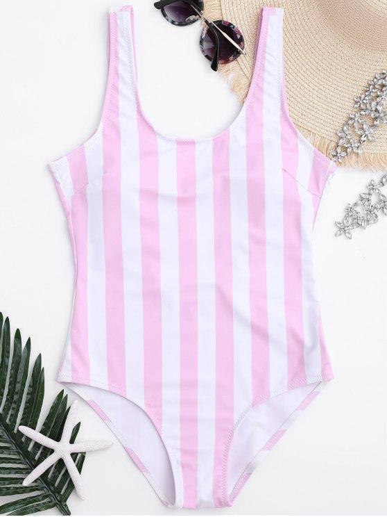 Traje de baño de una pieza de relleno con forma de rayas - Rosa y Blanco M