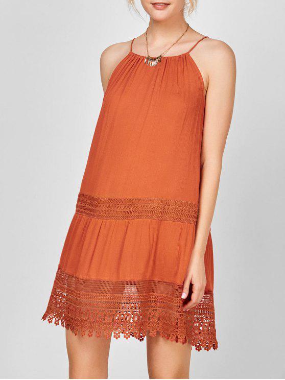 فستان دانتيل التريم بوهيمي مثير - أحمر برتقالي M
