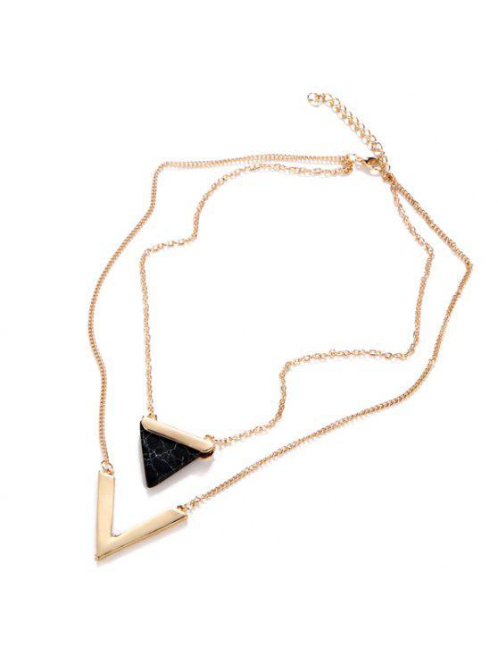 فو الأحجار الكريمة مثلث V- شكل الطبقات قلادة - أسود