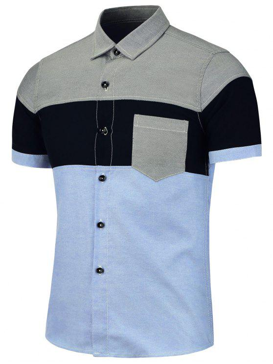 اللون كتلة قصيرة الأكمام المرقعة قميص - أزرق XL