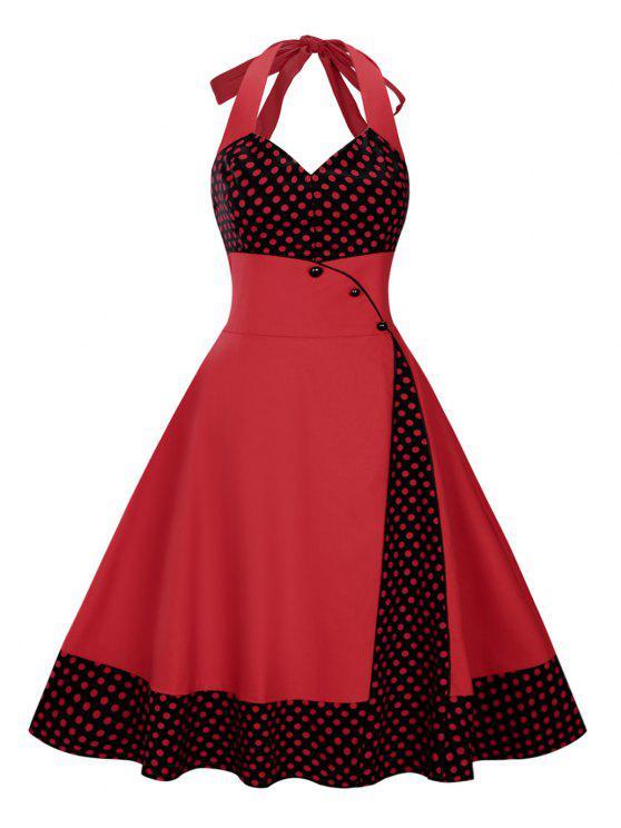 بالإضافة إلى حجم البولكا نقطة الرسن خمر اللباس سوينغ - أحمر غامق 3XL
