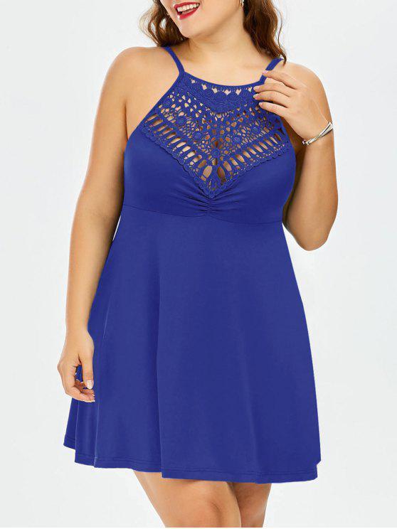 best Plus Size Lace Trim Empire Waist Slip Dress - ROYAL 3XL