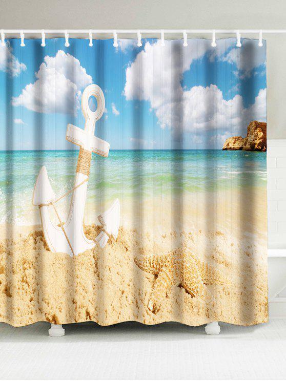 شاطئ مرساة نجم البحر طباعة ماء دش الستار - الرمل الأصفر W71 بوصة * L79 بوصة