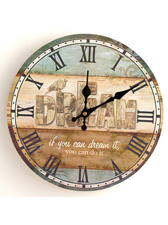 حلم التناظرية الخشب جولة ساعة الحائط - مزيج ملون 30 * 30CM