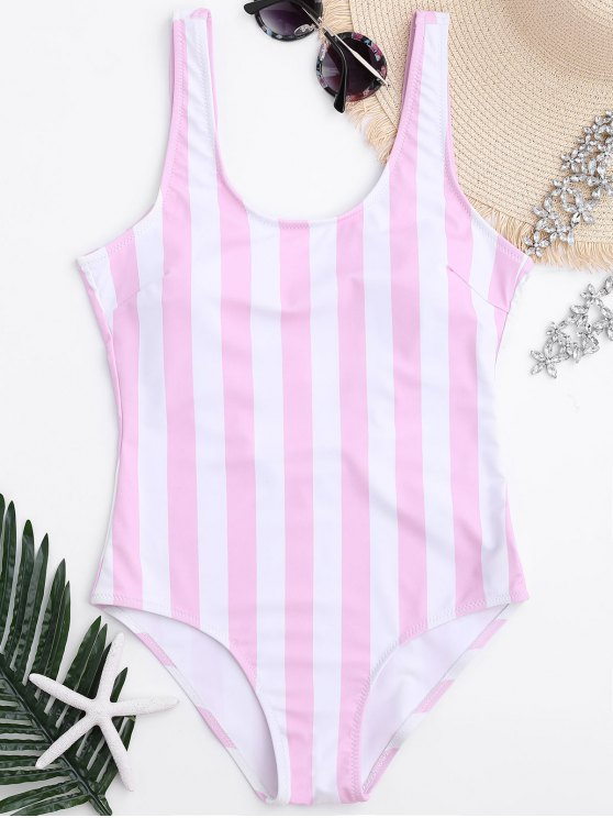 shop Striped Shaping Padded One Piece Swimsuit - PINK AND WHITE M