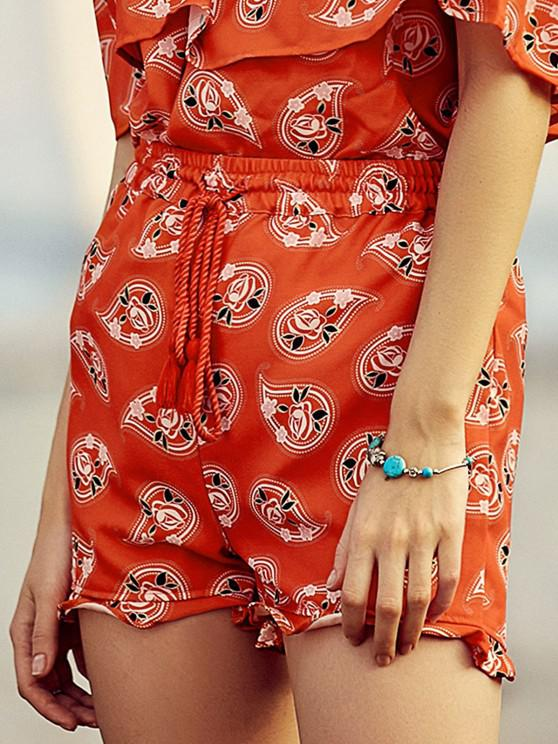Full Floral Print Drawstring Shorts - Red S | ZAFUL
