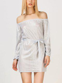 Off The Shoulder Metallic Dress - Silver White S