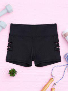 Cut Out Yoga Shorts - Black Xl