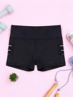 Cut Out Yoga Shorts - Black Xl