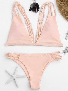 Bikini Avec Lanières Tressées à Coupe Basse - Rose PÂle L
