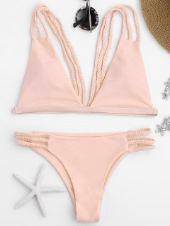 Low Cut Strappy Bralette Bikini - Pink S