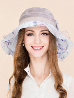 Mulberry Silk Floral Printed Bowknot Layered Hat - Light Blue