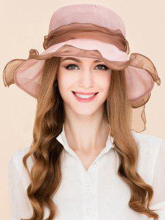 Mulberry Silk Breathable Lacing Bowknot Sun Hat - Pink