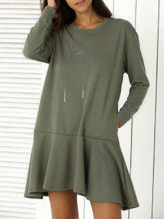Solid Color Ruffle Hem Sweatshirt Dress - Army Green S