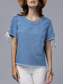 Vintage Lace-Up Round Neck Short Sleeve T-Shirt - Blue 2xl