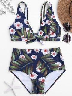 Conjunto De Bikini De Alta Cintura De Impresión Margarita - Floral S