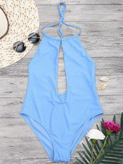 Halterneck Keyhole Plunge One Piece Swimsuit - Blue L
