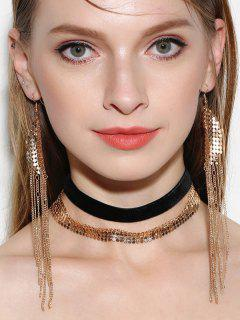 Disc Choker Necklaces With Fringed Earrings - Golden