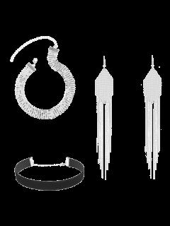 Choker Halsketten Mit Paillette Und Gefransten Ohrringe - Silber