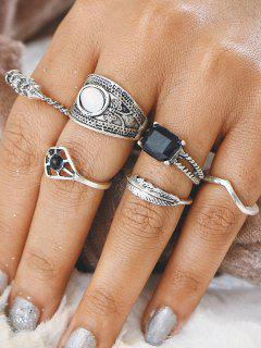 Alloy Feather Gypsy Finger Ring Set - Silver