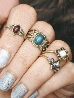 Engraved Faux Gemstone Oval Finger Ring Set - Golden