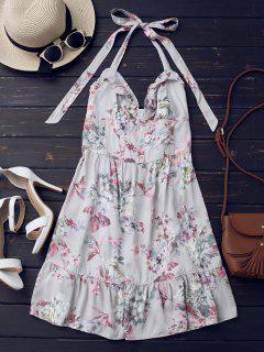 Half Buttoned Ruffles Floral Mini Dress - Floral L