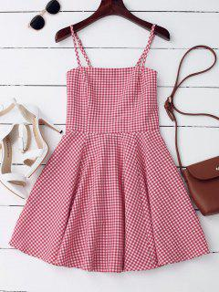 Cut Out Back Checked Mini Dress - Checked L