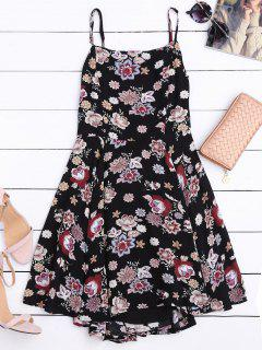 Cut Out Back Floral A-Line Dress - Floral L