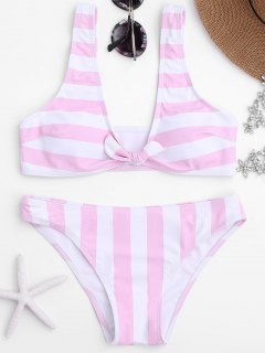 Knot Front Striped Scoop Bikini Set - Pink S