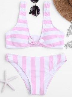 Knot Vorne Streifen Rundhalsausschnitt Bikini Set - Pink S