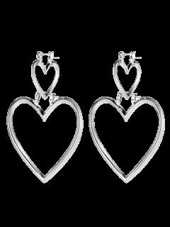 Double Love Heart Detachable Earrings - Silver