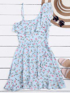 Mini Vestido Floral Con Un Hombro Solo De Volantes - Floral S