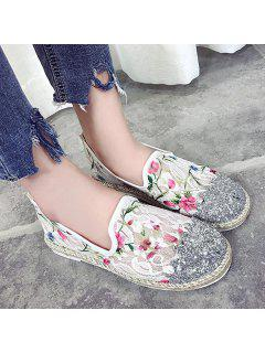 Floral Print Mesh Flat Shoes - White 37