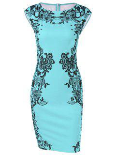 Cap Sleeve Floral Pencil Dress - Blue Green L