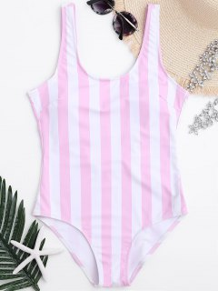 Striped Shaping Padded One Piece Swimsuit - Pink And White L