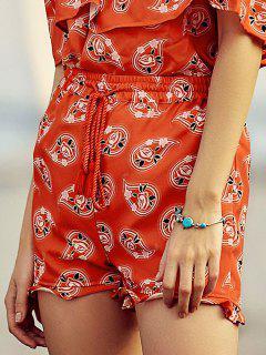 Floral Plein Shorts Imprimer Drawstring - Rouge S