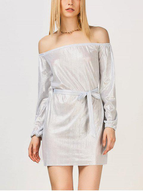 fashion Off The Shoulder Metallic Dress - SILVER WHITE S Mobile