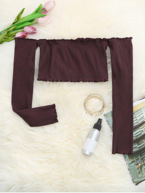 Haut court plissé épaules dénudées - Rouge Foncé TAILLE MOYENNE Mobile